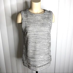 Banana Republic Gray Tweed Sleeveless Shell Top